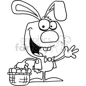Black and WHite Happy Easter Bunny with Basket of Eggs clipart. Commercial use image # 378307