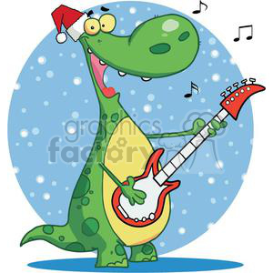 Dinosaur Plays Guitarand Singing with Santa Hat On clipart. Commercial use image # 378312
