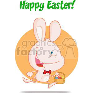 Happy Bunny Running with Easter Eggs In a Basket clipart. Royalty-free image # 378337