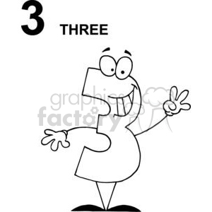 Cartoon Happy Number 3 clipart. Royalty-free image # 378342