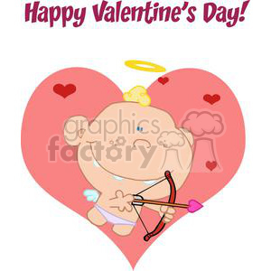 Happy Valentine's Day Cupid with a Bow and Arrow