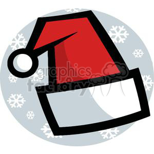 Santa Hat with White Snow Flakes Falling in the Background clipart. Royalty-free image # 378392