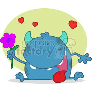 Monster with a Signal Purple Flower clipart. Royalty-free image # 378397