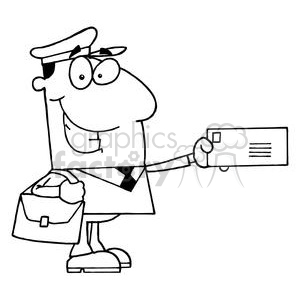A Postal Carrier Holds a Envelope In Black and White clipart. Royalty-free image # 378407