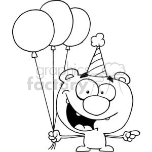 Happy bear wearing a birthday hat holding 3 three balloons