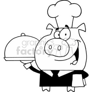Waiter Pig In A Chefs Hat With A Serving Platter clipart. Commercial use image # 378427