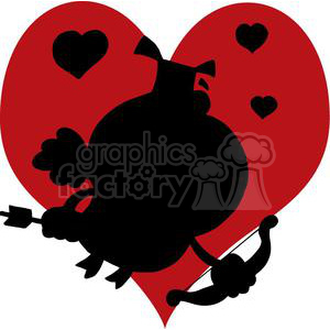 A Silhouette Elephant as Cupid in Big Red Heart Background clipart. Commercial use image # 378442