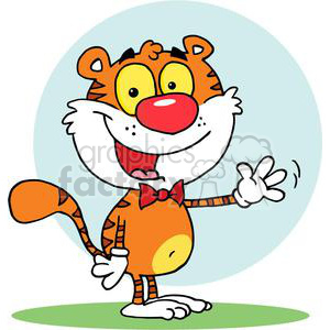 Tiger Waving A Greeting Happily clipart. Royalty-free image # 378447