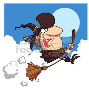 Witch rides broom at night with a full moon clipart. Royalty-free image # 378472