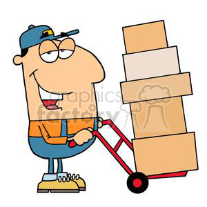 A Guy Moving Boxes With A Red Dolly clipart. Royalty-free image # 378492