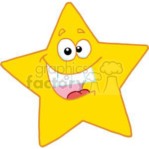 Yellow star with smiling face isolated on a white background