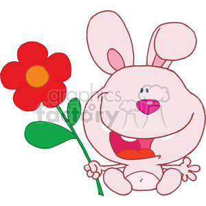 A Happy Pink Bunny holds flower
