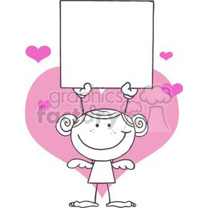 girl holding blank sign standing in front of pink hearts clipart. Commercial use image # 378582