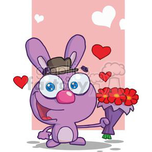 Cute Purple Bunny wearing a Hat With Flowers clipart. Commercial use image # 378592