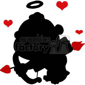Cupid with Bow and Arrow Flying With Red Hearts clipart. Royalty-free image # 378597