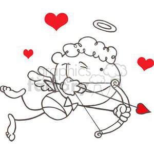 Stick Cupid with Bow and Arrow Flying With Red Hearts clipart. Royalty-free image # 378612