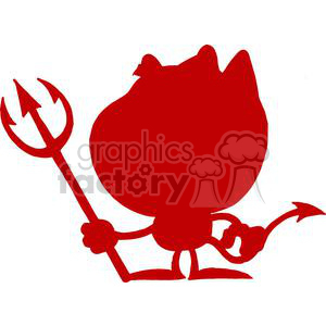 Silhouette Of A Little Devil with Pitchfork clipart. Royalty-free image # 378622