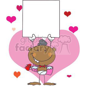 Stick African American Cupid with Banner clipart. Commercial use image # 378627