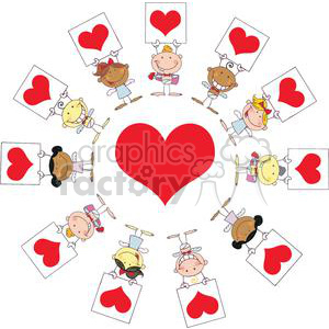 cartoon different nationalities stick cupids group with banners and hearts