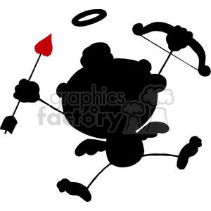 Black and Red Silhouette Cupid with Bow and Arrow Flying clipart. Royalty-free image # 378637