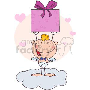 Stick Cupid Holding Up A Gift clipart. Commercial use image # 378642
