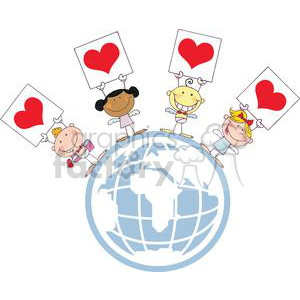 Four Cupids Of Different Nationalities with Banners On Top Of World clipart. Commercial use image # 378657