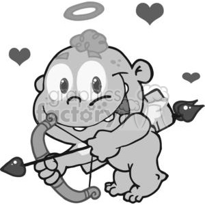 Grayscale Cupid clipart. Commercial use image # 378662