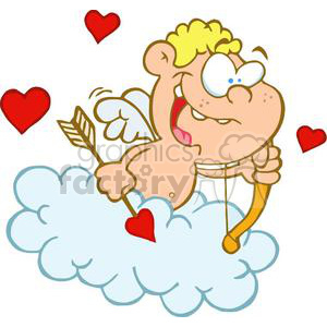 Cute Happy Blue Eyed Cupid with Bow and Arrow Flying in  Blue Cloud with Three Red Hearts clipart. Royalty-free image # 378670
