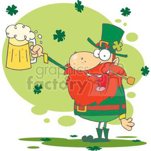Lucky Leprechaun holding a mug of Golden beer clipart. Royalty-free image # 378869