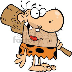 Happy Caveman with Three Teeth and Club clipart. Royalty-free image # 378874