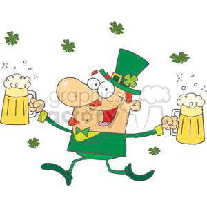 happy big nose leprechaun with two pints of beer