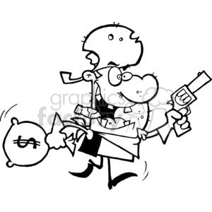 bank robber criminal thief cowboy outlaw money bag bags gun guns guy crazy running smoking cigar western town robbed heist cartoon funny vector black white