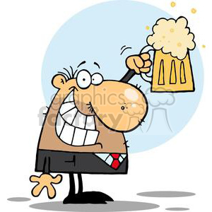A Man Celebrating With A Pint of Beer clipart. Commercial use image # 378894