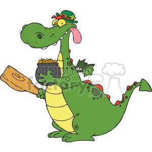 A Red Spiked Dragon Leprechaun with a pot of gold and mace clipart. Commercial use image # 378904
