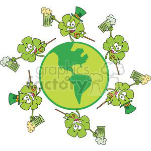 Six Happy Shamrocks Makes Toast with Green Beer Dancing Around The Globe clipart. Royalty-free image # 378909