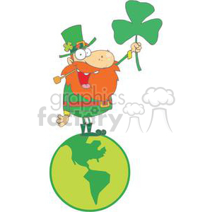 Happy Leprechaun With Shamrock Standing on Globe clipart. Commercial use image # 378914