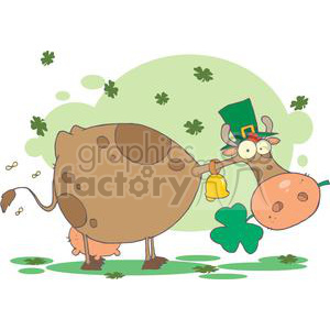 St. Patricks Cow with Shamrocks in its Mouth
