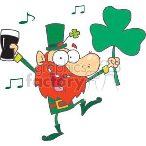 Lucky Leprechaun Dancing with a Glass of Beer and Shamrock clipart. Royalty-free image # 378944