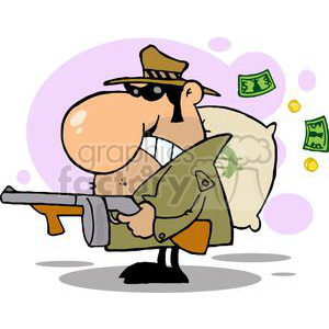 cartoon  gangster man with his gun and bag of money