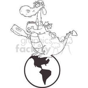 Dragon Leprechaun with a pot of gold and mace on globe clipart. Commercial use image # 378954
