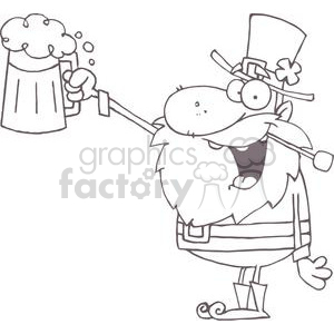 Leprechaun Toasting with a Mug of Beer clipart. Commercial use image # 378959