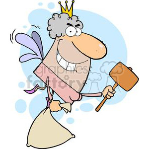 Tooth Fairy Flying With A Mallet And Bag clipart. Royalty-free image # 378969