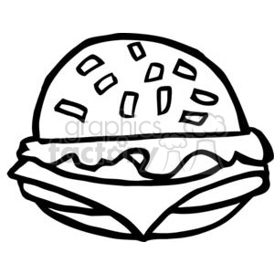 black and white fast food cheeseburger clipart. Royalty-free image # 378974