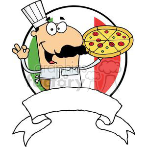 Banner Of A Pleased Male Pizza Chef With His Perfect Pie In Front Of Flag Of Italy clipart. Royalty-free icon # 378984