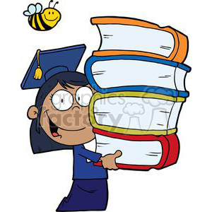 Female African American Graduate With Books In Her Hands clipart. Commercial use image # 378989