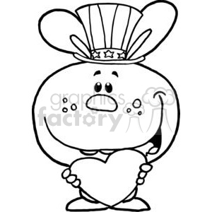 A Patriotic Bunny Holds Heart clipart. Commercial use image # 378994