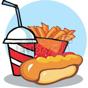 Fast Food Hot Dog Drink And French Fries With Blue Background