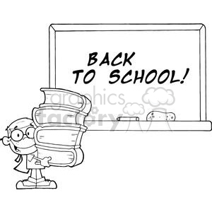 Student With Books In Front Of School Chalk Board With Text Back to School! clipart. Commercial use image # 379009