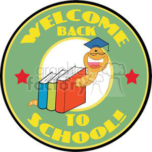 Banner Of A Bookworm With Text Back to School! clipart. Royalty-free image # 379014