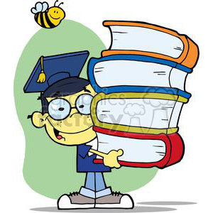 A Male Asian Graduate With Books In His Hands With A Bee Flying above clipart. Commercial use image # 379019